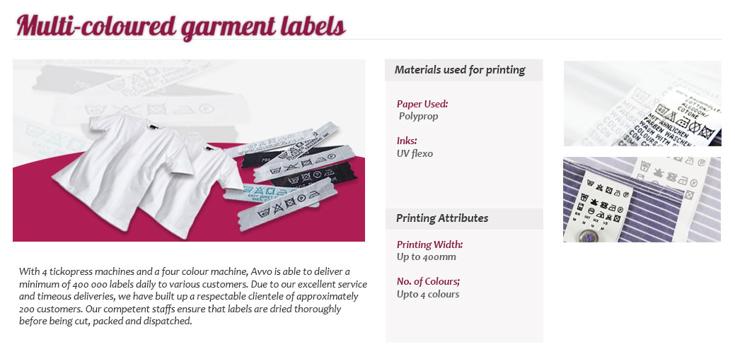 Multi coloured garment labels